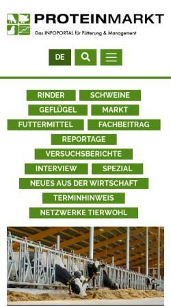 Vorschau der mobilen Webseite www.proteinmarkt.de, ProteinMarkt - Infoportal für Fütterung und Management