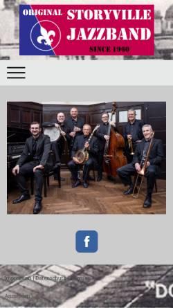 Vorschau der mobilen Webseite www.storyville.at, Original Storyville Jazzband Vienna