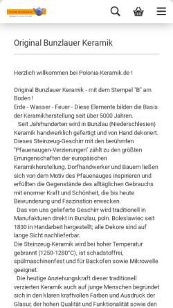 Vorschau der mobilen Webseite polonia-keramik.de, Polonia Keramik