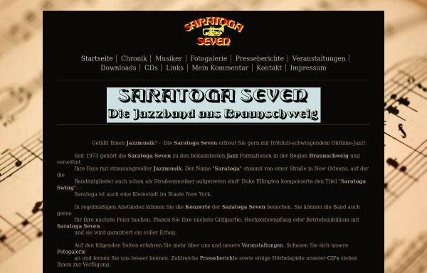Vorschau von www.saratoga-seven.de, Saratoga Seven Jazzband