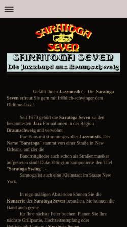Vorschau der mobilen Webseite www.saratoga-seven.de, Saratoga Seven Jazzband