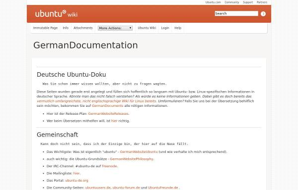 Vorschau von wiki.ubuntu.com, Deutsche Ubuntu-Doku