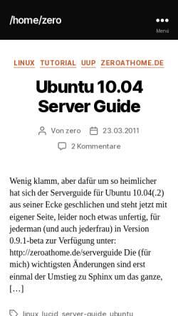 Vorschau der mobilen Webseite www.zeroathome.de, Home Zero