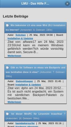 Vorschau der mobilen Webseite www.linuxmintusers.de, www.linuxmintusers.de