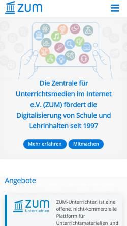 Vorschau der mobilen Webseite unity.zum.de, ZUM-Unity