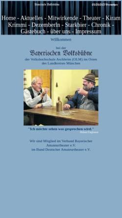 Vorschau der mobilen Webseite www.bayerischevolksbuehne.de, Kirchheim und Aschheim, Bayerische Volksbühne