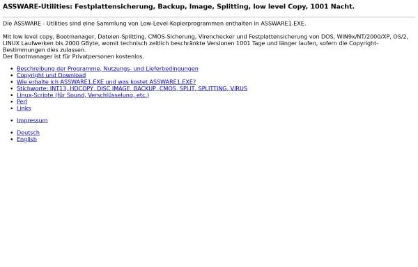 Vorschau von assware.de, Assware-Utilities