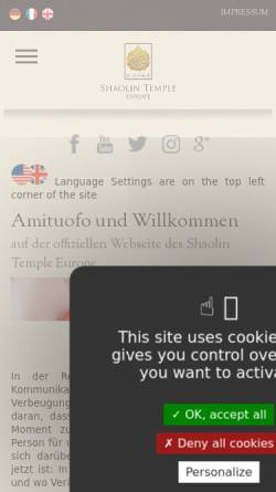 Vorschau der mobilen Webseite www.shaolintemple.eu, Shaolin Tempel