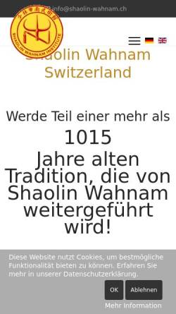 Vorschau der mobilen Webseite shaolin-wahnam.ch, Shaolin Wahnam Switzerland