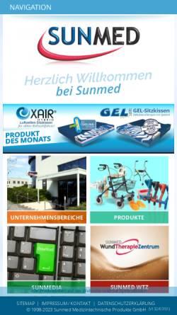 Vorschau der mobilen Webseite www.sunmed.at, Sunmed Medizintechnische Produkte GmbH