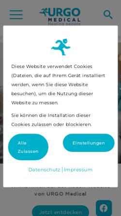 Vorschau der mobilen Webseite www.urgo.de, Urgo GmbH - Medizinische Pflaster
