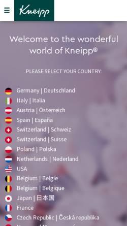Vorschau der mobilen Webseite www.kneipp.de, Kneipp-Werke - Kneipp-Mittel-Zentrale GmbH & Co. KG