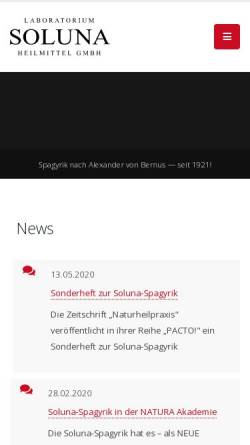 Vorschau der mobilen Webseite www.soluna.de, Soluna Heilmittel GmbH