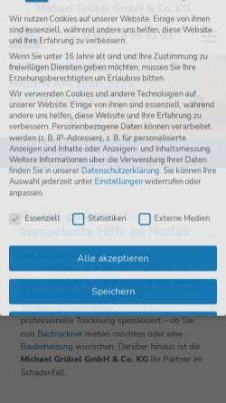 Vorschau der mobilen Webseite www.gruebel-kg.de, Michael Grübel GmbH & Co. KG - Trocknungsfachbetrieb