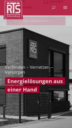 Vorschau der mobilen Webseite www.rts-bielefeld.de, RTS Rohrnetz-Technik Schaumburg GmbH