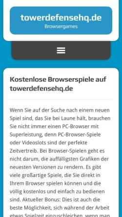 Vorschau der mobilen Webseite www.towerdefensehq.de, Tower Defense Headquarters