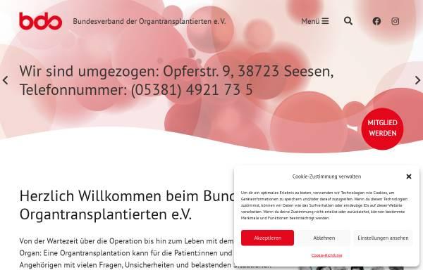Vorschau von www.bdo-ev.de, Bundesverband der Organtransplantierten e.V.