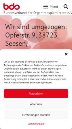 Vorschau der mobilen Webseite www.bdo-ev.de, Bundesverband der Organtransplantierten e.V.