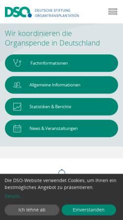 Vorschau der mobilen Webseite www.dso.de, DSO - Deutsche Stiftung Organtransplantation