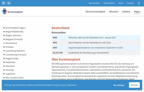Vorschau von www.eurotransplant.org, Eurotransplant