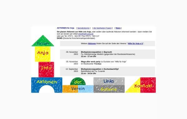 Vorschau von www.helft-anja.de, Hilfe für Anja