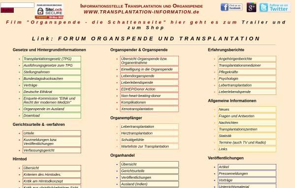 Vorschau von www.transplantation-information.de, Information zur Organspende und Transplantation aus psychologischer Sicht