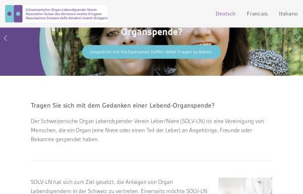 Vorschau von www.lebendspende.ch, Schweizerische Organ Lebendspender Verein Leber Niere (SOLV-LN )