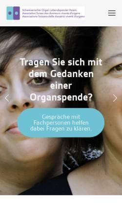 Vorschau der mobilen Webseite www.lebendspende.ch, Schweizerische Organ Lebendspender Verein Leber Niere (SOLV-LN )