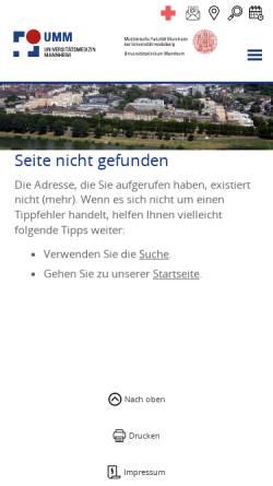 Vorschau der mobilen Webseite www.umm.de, Transplantationszentrum Mannheim