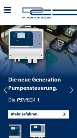 Vorschau der mobilen Webseite www.dc-elektronik.de, D.C. Industrie Elektronik GmbH