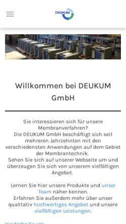 Vorschau der mobilen Webseite www.deukum.de, DEUKUM Komponenten für Umwelt- und Membrantechnik, Inh. Dipl. Chem. Ing. (FH) Andreas Deuschle