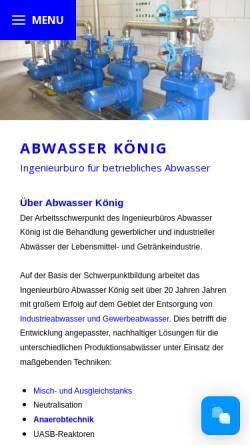 Vorschau der mobilen Webseite www.abwasser-koenig.de, Erwin König Abwassertechnik