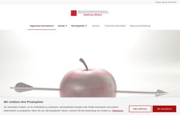 Vorschau von www.rechtsanwalt-hoyer.com, Rechtsanwaltskanzlei Andreas Hoyer