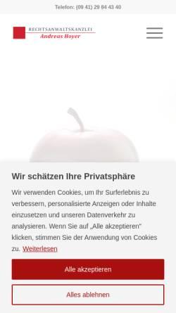 Vorschau der mobilen Webseite www.rechtsanwalt-hoyer.com, Rechtsanwaltskanzlei Andreas Hoyer