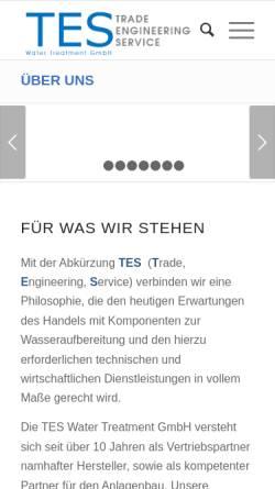 Vorschau der mobilen Webseite www.tes-water.de, TES Water Treatment GmbH
