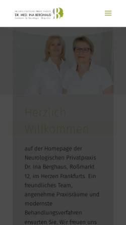 Vorschau der mobilen Webseite neurologe-frankfurt.de, Berghaus, Dr. med. Ina