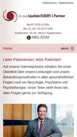Vorschau der mobilen Webseite www.eckert-saarbruecken.de, Eckert, Dr. med. Joachim