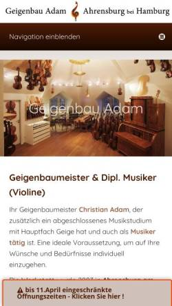 Vorschau der mobilen Webseite www.geigenbau.com, Geigenbau Adam, Christian Adam
