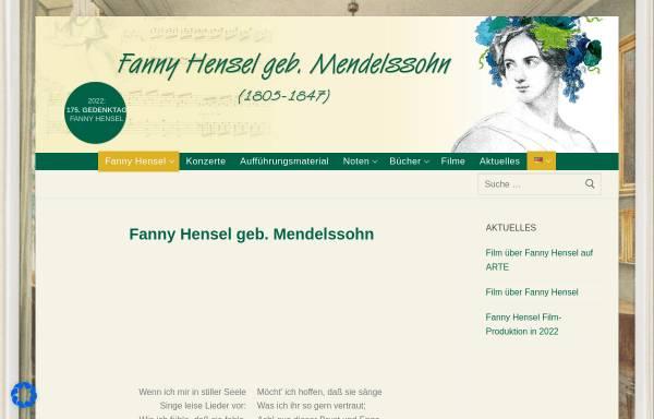 Vorschau von www.fannyhensel.de, Fanny Hensel geb. Mendelssohn: Leben und Werk