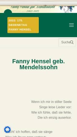 Vorschau der mobilen Webseite www.fannyhensel.de, Fanny Hensel geb. Mendelssohn: Leben und Werk