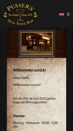 Vorschau der mobilen Webseite www.pussersbar.de, Pussers New York Bar