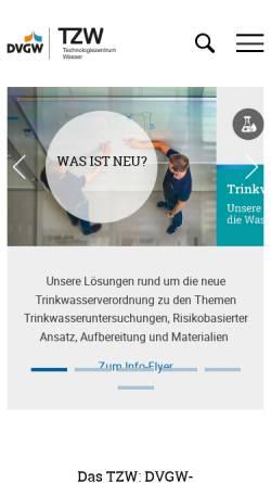 Vorschau der mobilen Webseite tzw.de, DVGW Technologiezentrum Wasser (TZW)