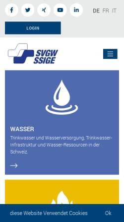 Vorschau der mobilen Webseite www.svgw.ch, Schweizerischer Verein des Gas- und Wasserfaches (SVGW)