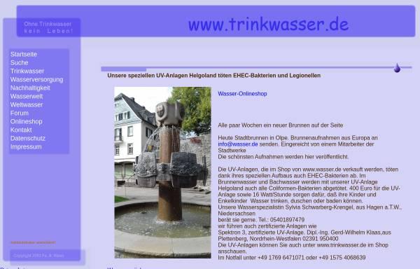 Vorschau von www.trinkwasser.de, Trinkwasser.de