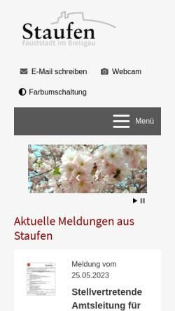 Vorschau der mobilen Webseite www.stadt-staufen.de, Staufen im Breisgau