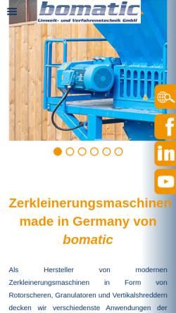 Vorschau der mobilen Webseite www.bomatic.de, Bomatic Umwelt- und Verfahrenstechnik GmbH