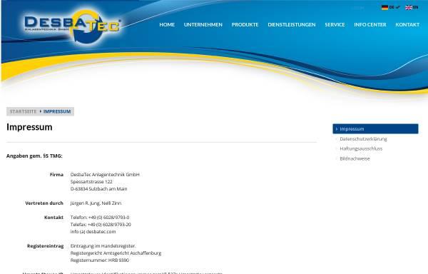 Vorschau von www.desbatec.com, DesbaTec Anlagentechnik GmbH