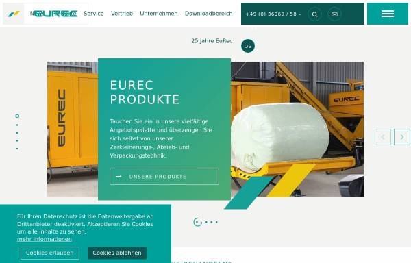 Vorschau von www.eurec-technology.com, EuRec Technology Sales & Distribution GmbH