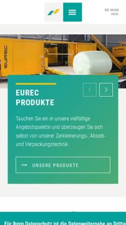 Vorschau der mobilen Webseite www.eurec-technology.com, EuRec Technology Sales & Distribution GmbH