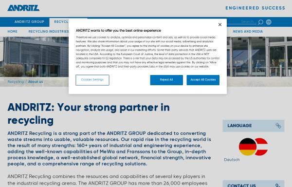 Vorschau von www.andritz.com, MeWa Recycling Maschinen und Anlagenbau GmbH